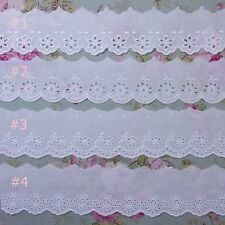 """Vintage Style  Eyelet Embroidered Lace Cotton Trim 2.0""""(5cm) Wide 5Yd White"""