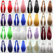 Fashion Womens Wigs Beautiful Long Straight Anime Cosplay Party Wig 80cm/100cm