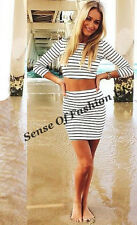 UK WOMENS CO-ORDS BLACK&WHITE STRIPED BODYCON SUMMER PARTY SKIRT DRESS SIZE 8-14