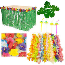 Hawaiian Luau Party Decor Bundle Hibiscus Table Skirt Lei Necklace Flower Leaves