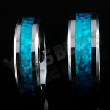 Silver Tungsten Carbide Blue Opal Inlay Wedding Band Bridal Womens MENS Ring