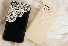 For Various Mobile Phones Bling Lovely Girly Pearls Lace Crystals Gems Hard Case
