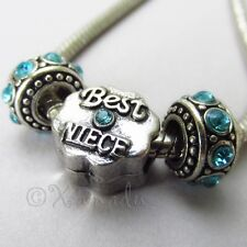 Best Niece European Beads Trio For Large Hole Charm Bracelets - Gift For Nieces
