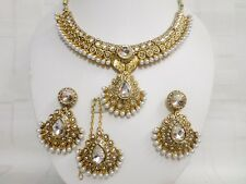 Indian Pearl  Bridal Wedding Gold Plated Fashion Jewelry Necklace Earrings Sets