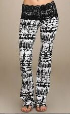 New Lace Waist Black & White Tie Dyed Yoga Boot Cut Leggings Stretch Pants S M L