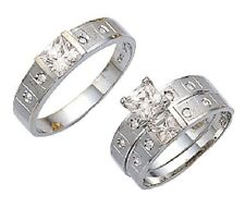 His & Her 10k Solid White Gold Princess Cut Trio Wedding Ring Band Set Size 5-13