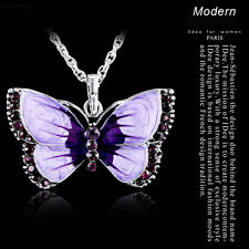 Women Fashion Enamel Butterfly Crystal Silver Pandents Necklace Chain