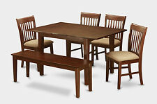 Milan 6 Pieces dinette set for small spaces- table and 4 chairs and Bench