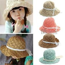 Kids Children Summer Straw Beach Hat Floppy Sun Cap Wide Brim Beige Green Pink
