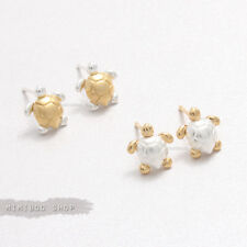 Delicate Cute Tiny Sea Turtle Combination Colors Stud Earrings Silver Post Back