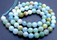 "SALE Small 6mm Round faceted Blue natural Amazonite loose beads string 15""-lo544"