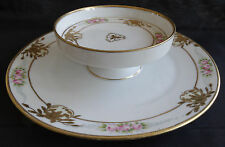 China Ornate Nippon Cracker and Cheese Plate White/gold/pink