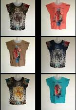 Women Ladies Tiger Girl Text Print T-Shirt Sequin Stud Top Plus Size 18 20 22