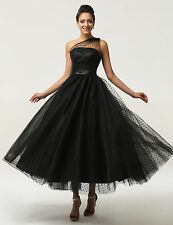 Tea Length Wedding Formal Evening Cocktail Ball Gown Party Prom Bridesmaid Dress