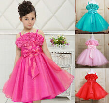 New Kids Children Girls BowKnot Floral Princess Party Dress For 2-10 Years EBU