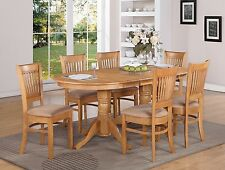 7-PC VANCOUVER OVAL DINETTE KITCHEN DINING TABLE w/6 UPHOLSTERY CHAIRS IN OAK