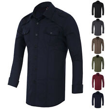 New Mens Casual Formal Shirts Slim Fit Shirt Top Long Sleeve Military Style S~XL