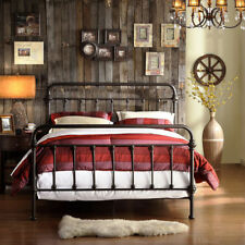 Bed Frame Wrought Iron Metal Antique Rustic Vintage Cast Twin Queen Full Size