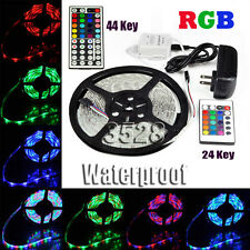 Kit 5M SMD RGB 3528 Waterproof Strip light 300 LEDs + 24 / 44 Key Remote Adapter
