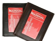 MEN's GENUINE SOFT LEATHER ID WINDOW THIN PLAIN TRIFOLD WALLET FLAP TOP