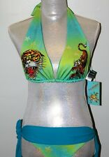 NWT ED HARDY TIGER  WOMEN  BEACH BIKINI 2 P  SET SWIMWEAR SIZE XS S M  MADE USA