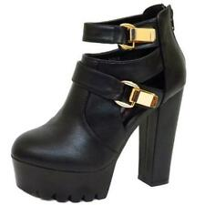 LADIES DOLCIS BLACK CHUNKY PLATFORM CLEATED BUCKLE ANKLE BOOTS SHOES SIZE 3-8