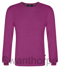MENS BOSIDENG LONDON PINK KNIT LONG SLEEVE RIBBED CREW NECK JUMPER