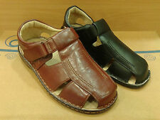 NEW Mens Summer Velcro Fisherman Strappy Shoes Sandals Leather Flip Flops Beach