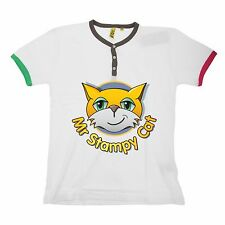 NEW Mr Stampy Cat Stampylongnose Y Neck With Piping T-shirt Girls Boys Age 7-12