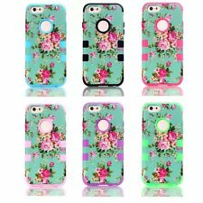 3 In 1 Peony Flower Design COMBO Robot Case Cover For iPhone 6 Plus 5 5S 4 4S 5C