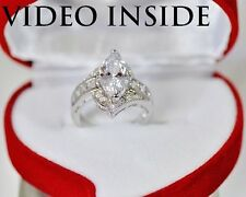3.85 CT Marquise cut Engagement Diamond Ring Solid Sterling Silver 925