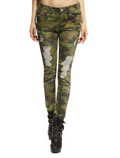 Anladia Womens Distressed Trousers Camouflage Military Army Camo Skinny Jeans