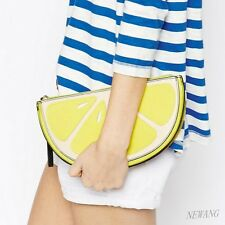 NEW Street Fruit Lemon 3D Shaped Clutch Tote Bags Daily Evening Handbag Purse