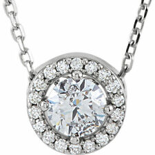 Genuine Diamonds Halo Style Pendant Necklace 1/2, 3/8 or 1/4 ctw 14K. White Gold