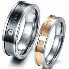 """ The Only Eternal Love "" Promise Ring Couple's Stainless Steel Wedding Band"