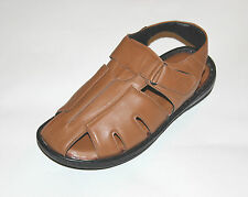 MENS GENUINE LEATHER---Handmade Closed Toe Cushioned Sandals- Leather lining
