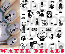 WATER DECALS CHAT NOIR EAU transfer AUTOCOLLANTS ONGLES NAIL ART STICKERS TATTOO