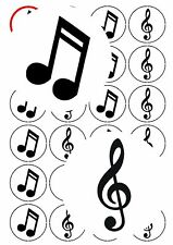 30-90 PRE-CUT EDIBLE WAFER CUP CAKE TOPPERS MUSICAL NOTES CLEF RECEITAL GRADED