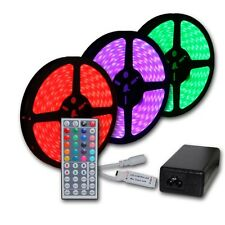 Continuous 20M 65FT RGB 5050 SMD LED Strip Light Waterproof IR Remote w/ 12V PSU