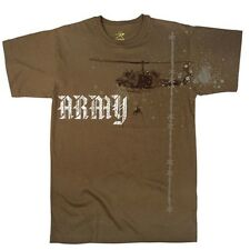 US Army HELICOPTER T-Shirt 101st Airborne 1st Cav Air Assault Ranger Helo BROWN