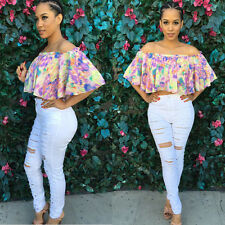 2015 Sexy Women Lady Casual Floral Off Shoulder Tops T-Shirt Summer Loose Blouse