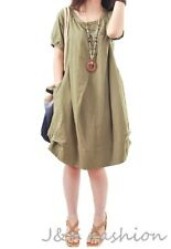 Ladies Women's Short Sleeves Pleated Cotton and linen Oversized Shift Dress