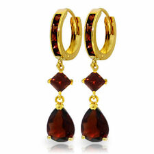 Natural Garnet Pear & Princess Gems Huggie Hoops Dangle Earrings 14K. Solid Gold
