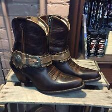 NEW LADIES DURANGO CRUSH SHORT DEMI WESTERN COWGIRL BOOT W/ SPUR STRAPS DCRD173