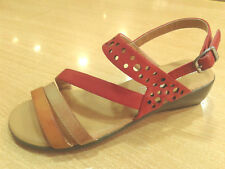 NEW BALLERI Womens Leather Mini Wedge Platform Heel Sandals Shoes Strappy Sizes