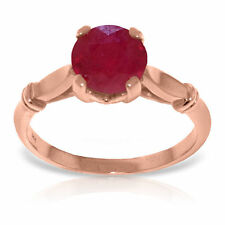 Genuine Red Ruby Round Gemstone Solitaire Ring in 14K. Yellow,  White, Rose Gold