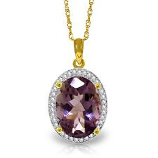 Natural Purple Amethyst Oval Gemstone & Diamonds Pendant Necklace 14K Solid Gold