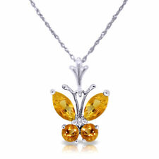 Genuine Citrines Gems Butterfly Pendant Necklace 14K. Yellow, White or Rose Gold