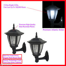 2 Ct Solar Power Outdoor Black Wall Mount Lights and Stakes