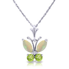 Genuine Opal & Peridot Gemstones Butterfly Pendant Chain Necklace 14K Solid Gold